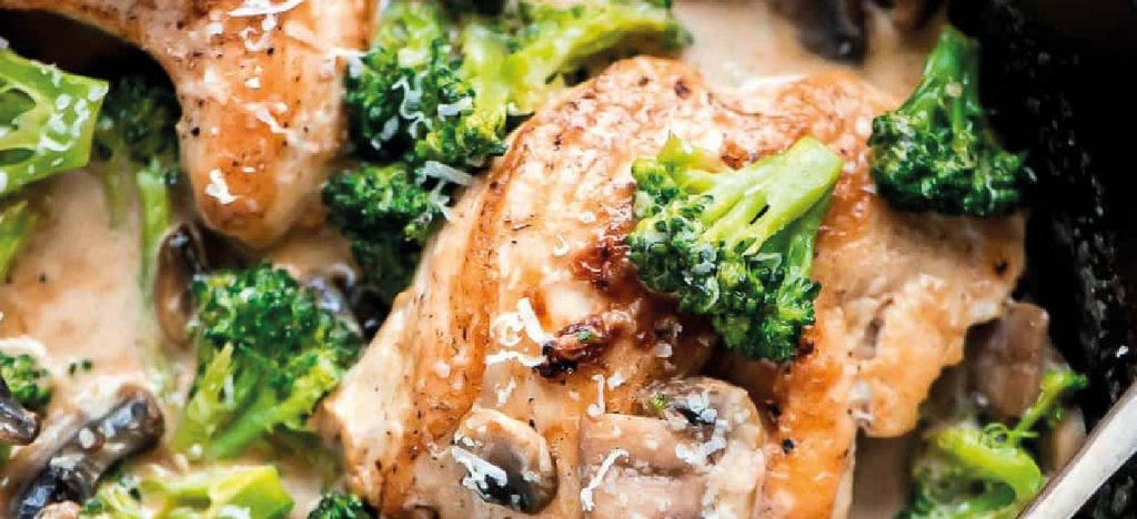 Recipe for Chicken, Broccoli, Mushroom Béchamel Sauce