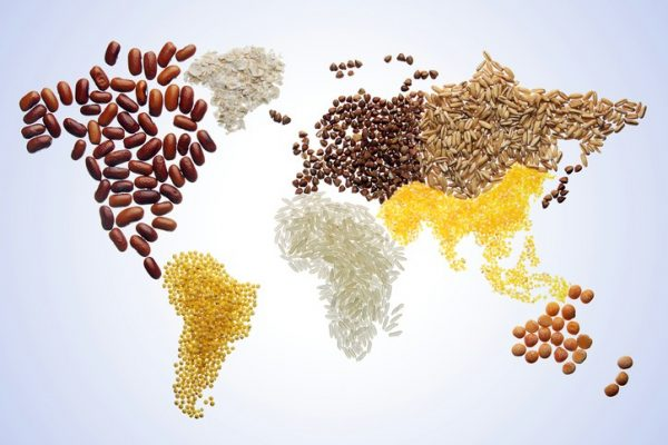 World map with grains